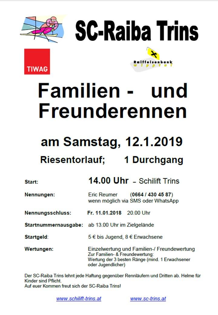 Familienrennen Einladung 2019